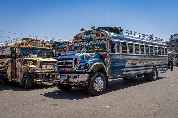 De berømte chicken buses ©Backpackerne